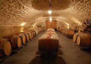 Barrel cellar of the Domaine de la Charbonniere winery