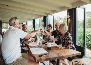 People tasting wine at Domaine Naturaliste winery