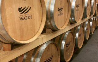 Wine barrels of Domaine Wardy winery