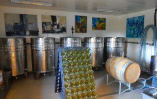 Steel tanks inside the Guldbæk vingård winery