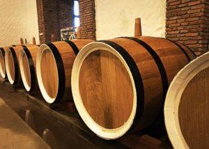 Barrels inside the cellar room of Javakhishvilebis Marani winery