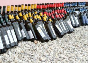 Wine bottles of the La frassina winery