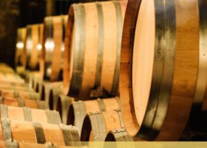 Wine barrels of the Ladora winery