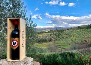 A wine bottle of Le Fonti - Panzano winery
