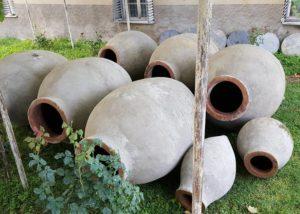 Kvevri in the garden of the Lekso's Marani winery