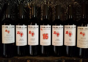 Seven bottles of wines of the Lekso's Marani winery