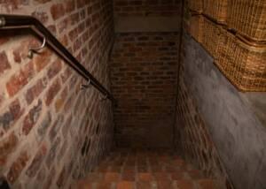 passage to underground cellar of mellasat vineyards