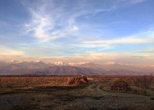 Sunset view of the Mestvireni winery