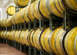 Barrels inside the cellar of MINKOV BROTHERS Wine Cellar winery