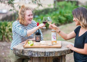 Two girls enjoying wine tasting at Mount Avoca Winery