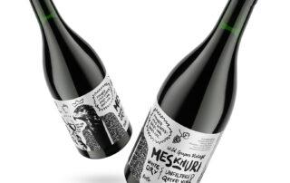 Two wine bottles of Natenadze's Wine Cellar