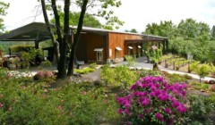 A pretty garden in front of Pilot peak winery.