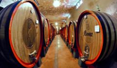Big wine barrels inside the cellar ar Rivera Spa