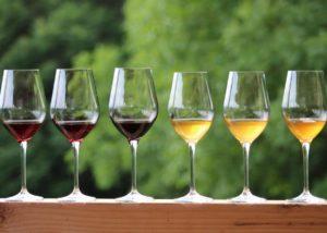 Wines in glasses at Sad Meli Winery