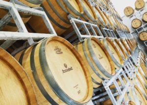 Wine barrels inside the cellar of the Szeleshát Estate winery