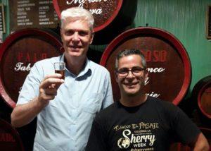 Two men tasting wine at Tabanco el pasaje