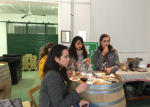 Four women tasting wine and food at Tenuta palazzona di maggio winery