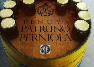 Honey bottles kept on the drum at tenuta patruno perniola winery