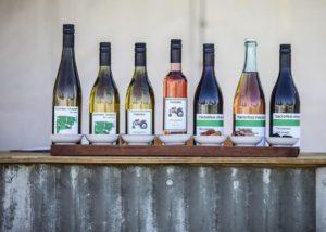 Wine bottles of Tractorless Vineyard winery