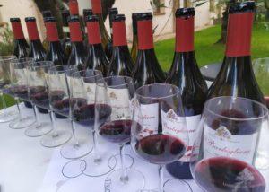 WIne bottles and glasses aligned at uisglian del vescovo winery