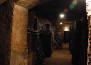 Underground cellar of Zenith vineyard full of wines