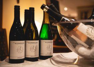 Wine bottles of the Weingut Peter Schweiger winery