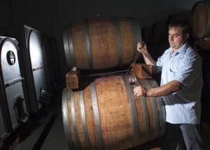 A man testing wine at Zaloščan vina De Adami winery