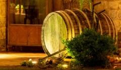 Markou wine museum wooden barrel for wine aging inside winery