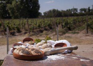 vasija secreta delicious food for wine tasting against lush vineyards