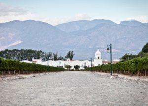 bodega el esteco beautiful white winery on a backdrop of the mountains