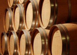 barrels at Bodega Las Virtudes cellar in Spain