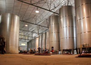 tanks inside Bodega Las Virtudes winery in Spain