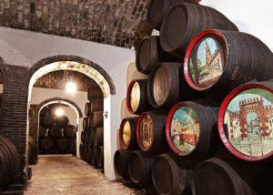 wine barrels at Bodegas Cruz Conde winery in Spain