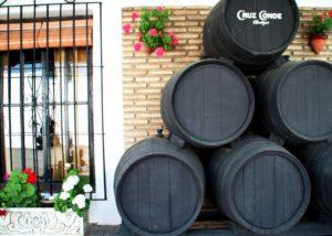 painted barrels at Bodegas Cruz Conde winery in Spain