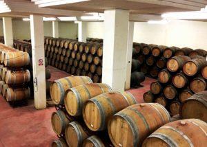 barrels inside Bodegas Fernandez winery cellar in Spain