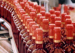 wine bottles at factory on Bodegas Fernandez winery in Spain