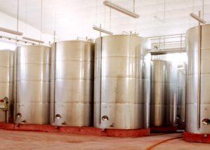 Bodegas Fernandez wine tanks inside winery in Spain