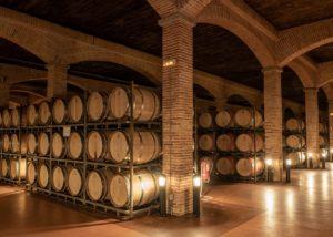 Wine barrels stored in cellar at Bodegas Francisco Gomez.