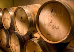 Bodegas Manzanos barrels full of wine made in Spain