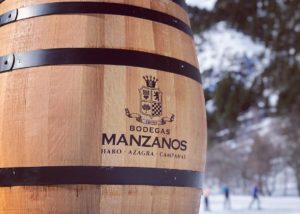 barrel full of Bodegas Manzanos wine in Spain