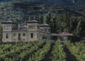 bodegas puelles lush vineyards against old fashion estate in spain