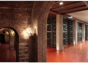 Barrels and bottles kept in rack in cellar at Bodegas Riojanas.