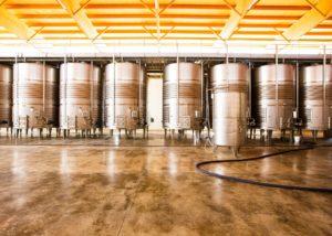 modern wine tanks at Bodega Vi Rei winery in Spain