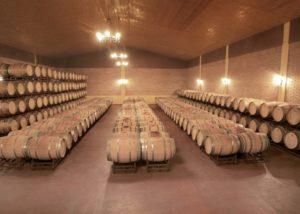 wooden barrels full of wine at Bodegas Alvia winery cellar in Spain