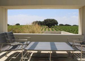 table for wine tasting at Dehesa De Luna winery in Spain