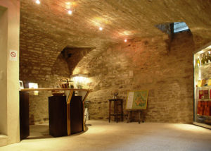 Spacious cave designed wine tasting area inside Denis Race winery