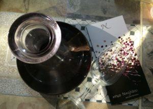 domaine nikolaou wine glasses ready for wine tasting session