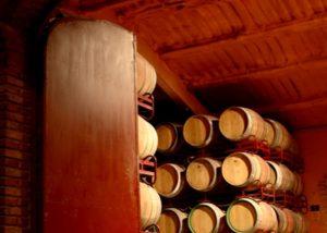 fernandez de arcaya wine cellar with many wooden barrels for wine aging
