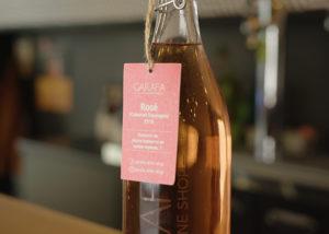 The wine bottle of Garafa Wine Shop kept on a table