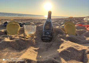 A Bottle Of Wine By Les Caves De La Loire Winery In Beach